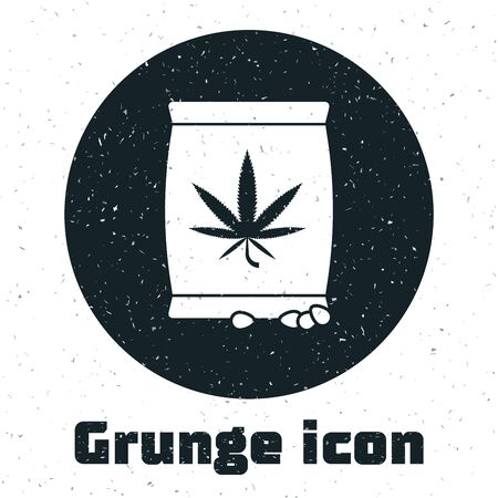 Grunge Marijuana or cannabis seeds in a bag icon isolated on white background. Hemp symbol. The process of planting marijuana. Vector Illustration