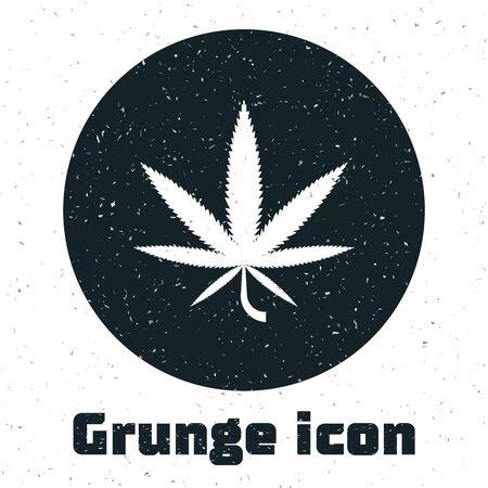 Grunge Medical marijuana or cannabis leaf icon isolated on white background. Hemp symbol. Vector Illustration Vectores