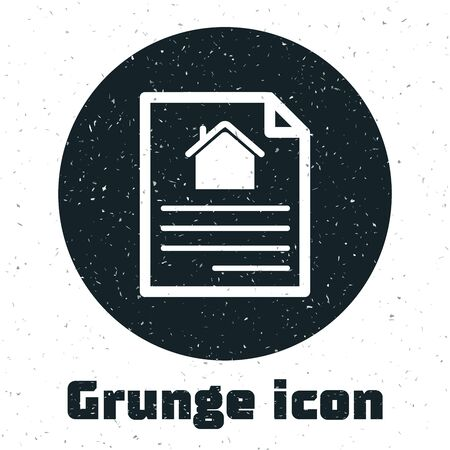 Grunge House contract icon isolated on white background. Contract creation service, document formation, application form composition. Vector Illustration