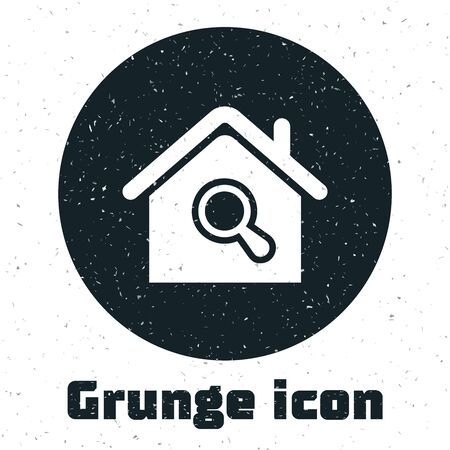 Grunge Search house icon isolated on white background. Real estate symbol of a house under magnifying glass. Vector Illustration