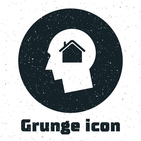 Grunge Man dreaming about buying a new house icon isolated on white background. Vector Illustration