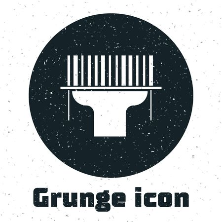 Grunge Scanner scanning bar code icon isolated on white background. Barcode label sticker. Identification for delivery with bars. Vector Illustration