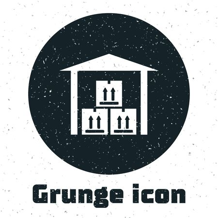 Grunge Warehouse icon isolated on white background. Vector Illustration Banco de Imagens - 130986136