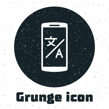 Grunge Online translator icon isolated on white background. Foreign language conversation icons in chat speech bubble. Translating concept. Vector Illustration Иллюстрация