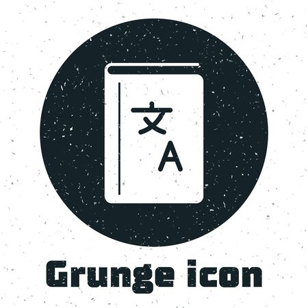 Grunge Translator book icon isolated on white background. Foreign language conversation icons in chat speech bubble. Translating concept. Vector Illustration