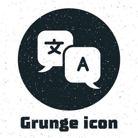 Grunge Translator icon isolated on white background. Foreign language conversation icons in chat speech bubble. Translating concept. Vector Illustration Иллюстрация
