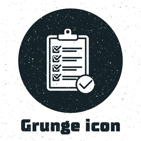 Grunge Verification of delivery list clipboard and pen icon isolated on white background. Vector Illustration
