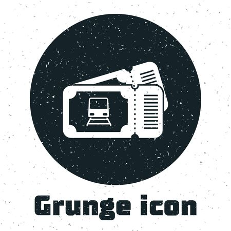 Grunge Train ticket icon isolated on white background. Travel by railway. Vector Illustration