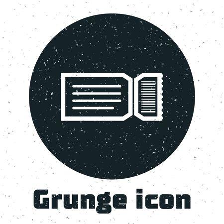 Grunge Ticket icon isolated on white background. Vector Illustration
