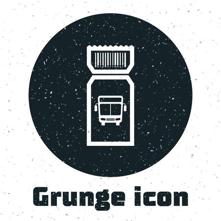 Grunge Bus ticket icon isolated on white background. Public transport ticket. Vector Illustration