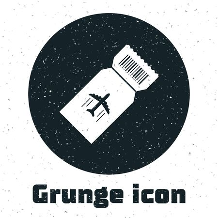 Grunge Airline ticket icon isolated on white background. Plane ticket. Vector Illustration