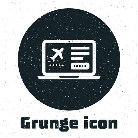 Grunge Laptop with electronic boarding pass airline ticket icon isolated on white background. Passenger plane mobile ticket for web and app. Vector Illustration Çizim