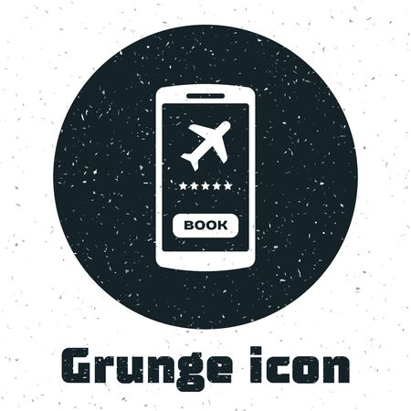 Grunge Smartphone with electronic boarding pass airline ticket icon isolated on white background. Passenger plane mobile ticket for web and app. Vector Illustration Çizim