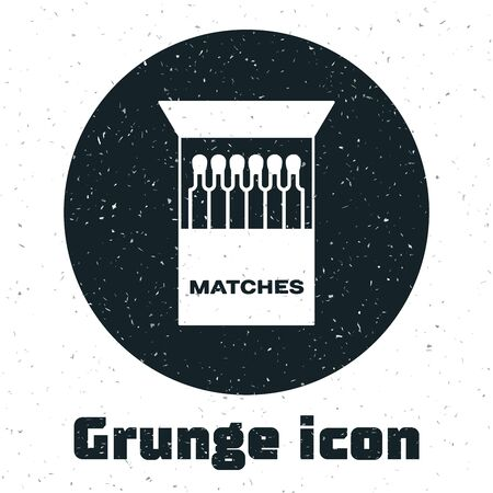 Grunge Open matchbox and matches icon isolated on white background. Vector Illustration