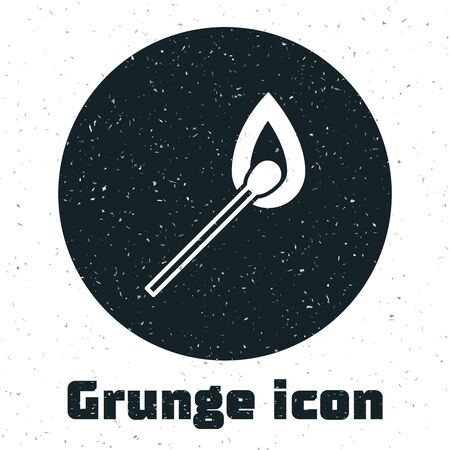 Grunge Burning match with fire icon isolated on white background. Match with fire. Matches sign. Vector Illustration Çizim