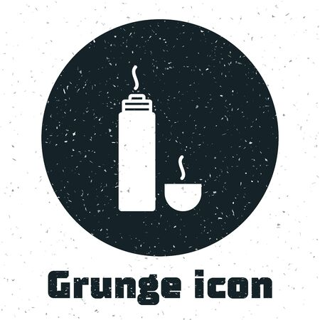 Grunge Thermo container icon isolated on white background. Thermo flask icon. Camping and hiking equipment. Vector Illustration