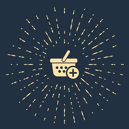 Beige Add to Shopping basket icon isolated on dark blue background. Online buying concept. Delivery service sign. Supermarket basket symbol. Abstract circle random dots. Vector Illustration