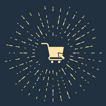 Beige Shopping cart with cursor icon isolated on dark blue background. Online buying concept. Delivery service sign. Supermarket basket symbol. Abstract circle random dots. Vector Illustration