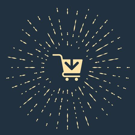 Beige Add to Shopping cart icon isolated on dark blue background. Online buying concept. Delivery service sign. Supermarket basket symbol. Abstract circle random dots. Vector Illustration Illustration