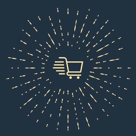 Beige Shopping cart icon isolated on dark blue background. Online buying concept. Delivery service sign. Supermarket basket symbol. Abstract circle random dots. Vector Illustration