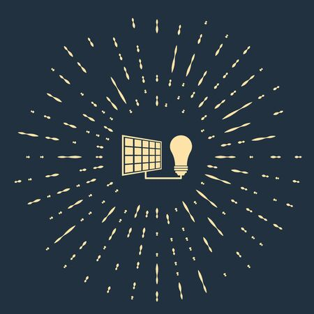 Beige Solar energy panel and light bulb icon isolated on dark blue background. Abstract circle random dots. Vector Illustration  イラスト・ベクター素材