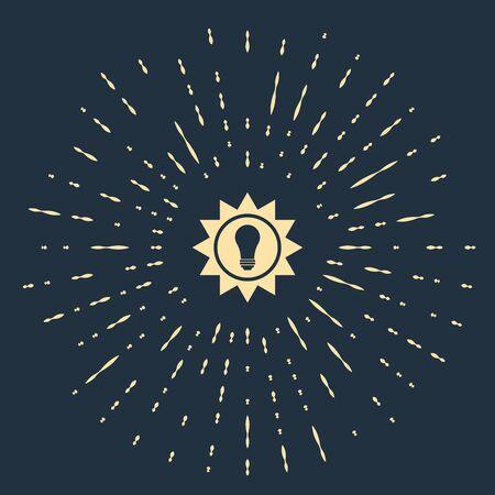 Beige Solar energy panel icon isolated on dark blue background. Sun and light bulb. Abstract circle random dots. Vector Illustration