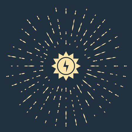 Beige Solar energy panel icon isolated on dark blue background. Sun with lightning symbol. Abstract circle random dots. Vector Illustration  イラスト・ベクター素材