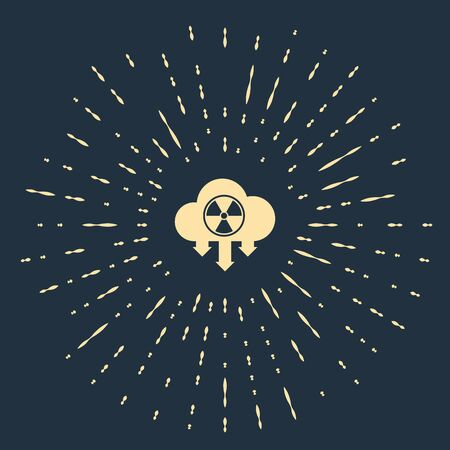 Beige Acid rain and radioactive cloud icon isolated on dark blue background. Effects of toxic air pollution on the environment. Abstract circle random dots. Vector Illustration