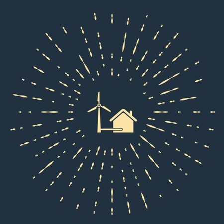 Beige House with wind turbine for electric energy generation icon isolated on dark blue background. Eco-friendly house. Environmental Protection. Abstract circle random dots. Vector Illustration  イラスト・ベクター素材