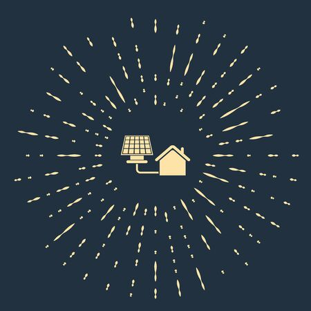Beige House with solar panel icon isolated on dark blue background. Ecology, solar renewable energy. Eco-friendly house. Environmental Protection. Abstract circle random dots. Vector Illustration