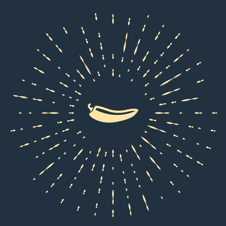 Beige Hot chili pepper pod icon isolated on dark blue background. Design for grocery, culinary products, seasoning and spice package, cooking book. Abstract circle random dots. Vector Illustration