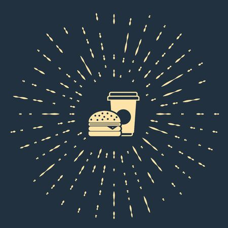 Beige Coffee and burger icon isolated on dark blue background. Fast food symbol. Abstract circle random dots. Vector Illustration