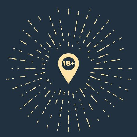 Beige Map pointer with 18 plus icon isolated on dark blue background. Age restriction symbol. 18 plus content sign. Adults content only icon. Abstract circle random dots. Vector Illustration