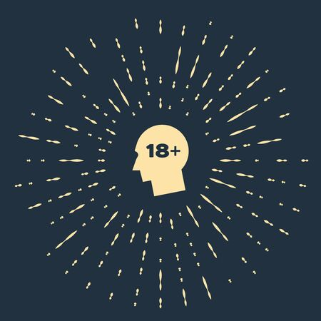 Beige Human head with inscription 18 plus icon isolated on dark blue background. 18 plus content sign. Adults content only icon. Abstract circle random dots. Vector Illustration