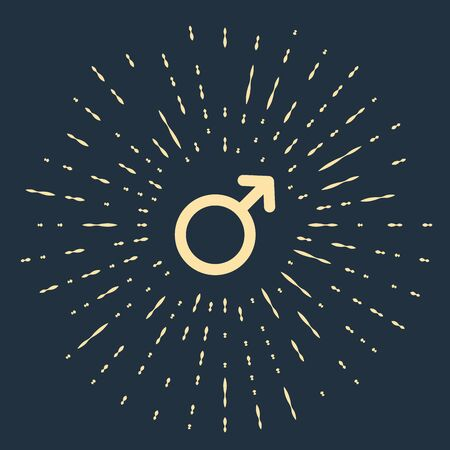 Beige Male gender symbol icon isolated on dark blue background. Abstract circle random dots. Vector Illustration Illustration