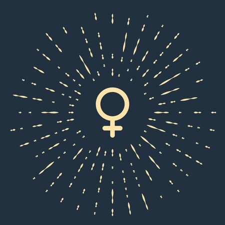 Beige Female gender symbol icon isolated on dark blue background. Venus symbol. The symbol for a female organism or woman. Abstract circle random dots. Vector Illustration