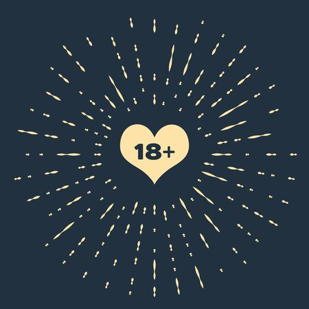 Beige 18 plus content heart icon isolated on dark blue background. Adults content only icon. Abstract circle random dots. Vector Illustration