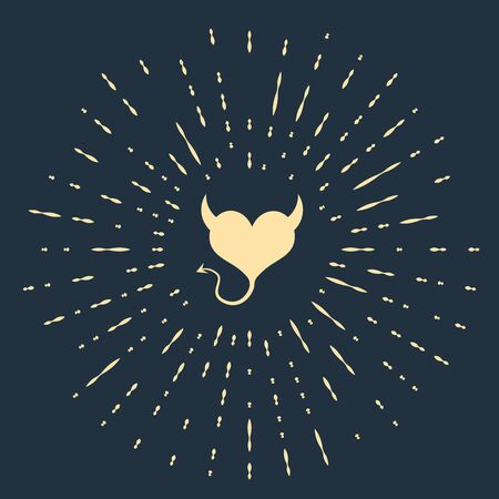 Beige Devil heart with horns and a tail icon isolated on dark blue background. Valentines Day symbol. Abstract circle random dots. Vector Illustration