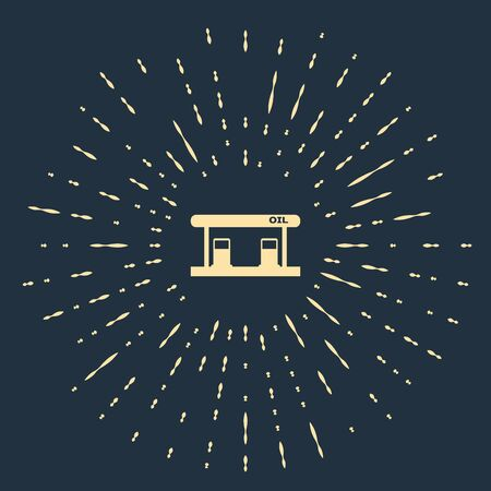 Beige Gas filling station icon isolated on dark blue background. Transport related service building Gasoline and oil station. Abstract circle random dots. Vector Illustration Ilustracja