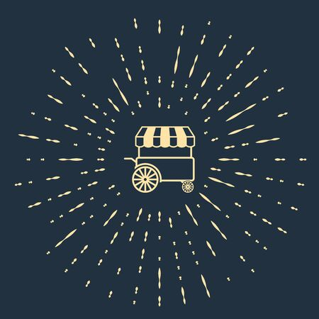 Beige Fast street food cart with awning icon isolated on dark blue background. Urban kiosk. Abstract circle random dots. Vector Illustration Stock Illustratie