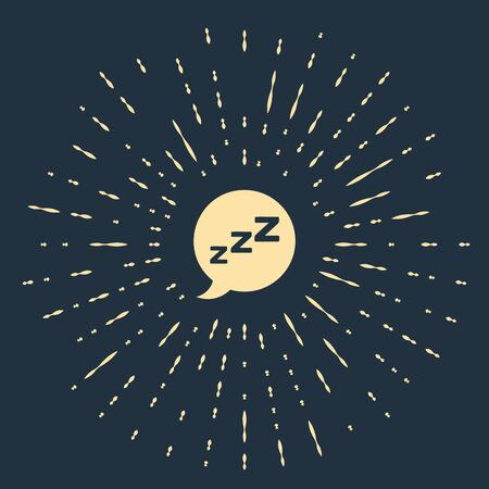 Beige Speech bubble with snoring icon isolated on dark blue background. Concept of sleeping, insomnia, alarm clock app, deep sleep, awakening. Abstract circle random dots. Vector Illustration