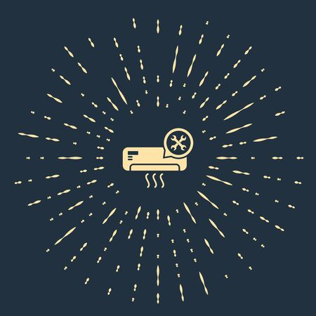 Beige Air conditioner with screwdriver and wrench icon isolated on dark blue background. Adjusting, service, setting, maintenance, repair, fixing. Abstract circle random dots. Vector Illustration
