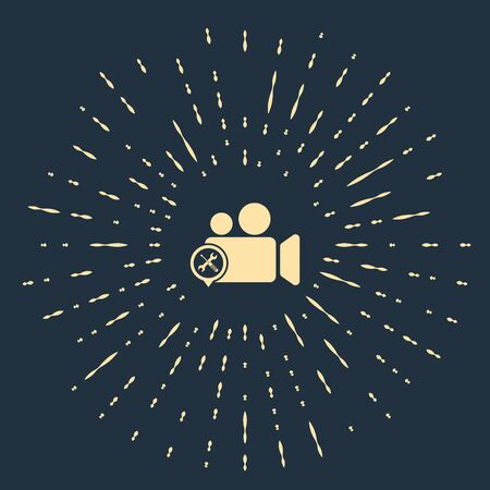 Beige Video camera with screwdriver and wrench icon isolated on dark blue background. Adjusting, service, setting, maintenance, repair, fixing. Abstract circle random dots. Vector Illustration