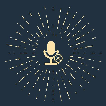 Beige Microphone with screwdriver and wrench icon isolated on dark blue background. Adjusting, service, setting, maintenance, repair, fixing. Abstract circle random dots. Vector Illustration