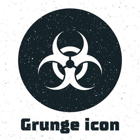 Grunge Biohazard symbol icon isolated on white background. Vector Illustration