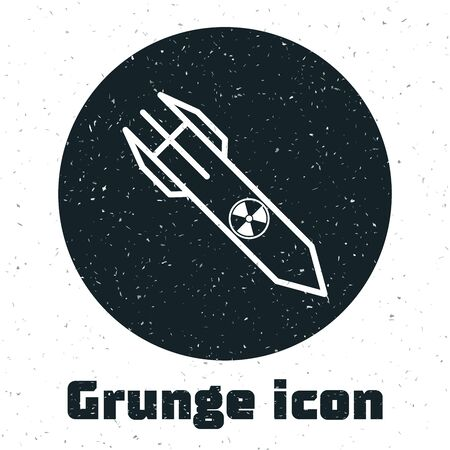 Grunge Nuclear rocket icon isolated on white background. Rocket bomb flies down. Vector Illustration Stock Illustratie