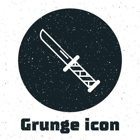 Grunge Military knife icon isolated on white background. Vector Illustration