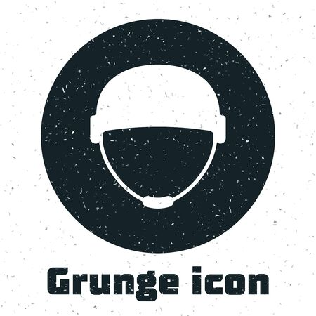 Grunge Military helmet icon isolated on white background. Army hat symbol of defense and protect. Protective hat. Vector Illustration