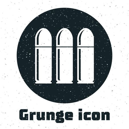 Grunge Bullet icon isolated on white background. Vector Illustration