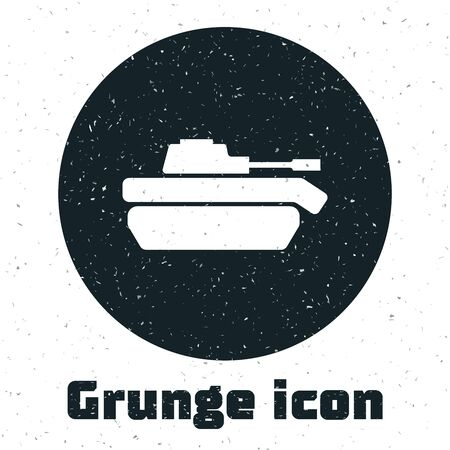 Grunge Military tank icon isolated on white background. Vector Illustration
